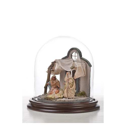 Neapolitan Nativity, Arabian style in glass dome 20x20cm 5