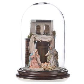 Sainte Famille terre cuite style arable 20x30cm cloche verre s1