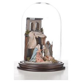 Sainte Famille terre cuite style arable 20x30cm cloche verre s7