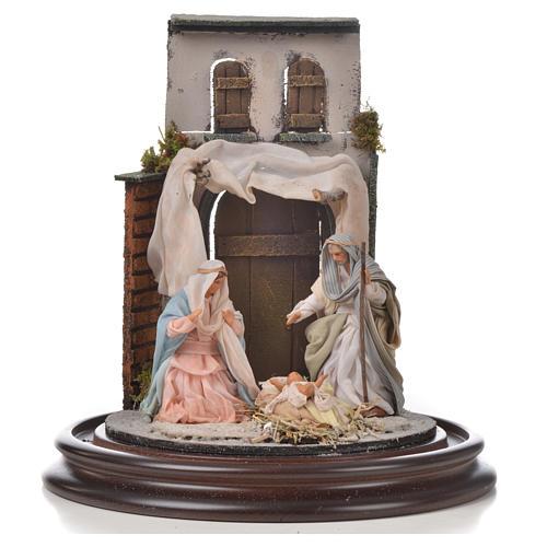 Sainte Famille terre cuite style arable 20x30cm cloche verre 2