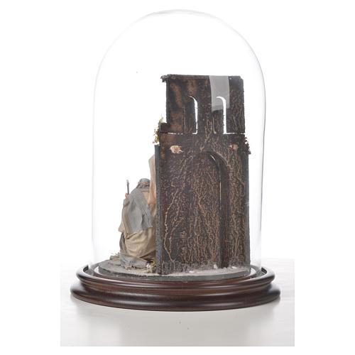 Sainte Famille terre cuite style arable 20x30cm cloche verre 6