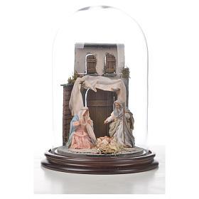 Natività Napoli terracotta stile arabo 20x30 cm campana di vetro s4