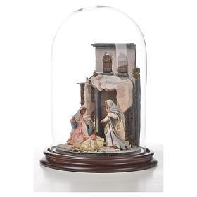 Natività Napoli terracotta stile arabo 20x30 cm campana di vetro s5