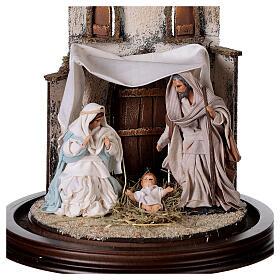 Natività Napoli terracotta stile arabo 20x30 cm campana di vetro s2
