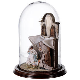 Natività Napoli terracotta stile arabo 20x30 cm campana di vetro s3