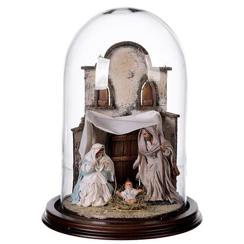 Natività Napoli terracotta stile arabo 20x30 cm campana di vetro 1