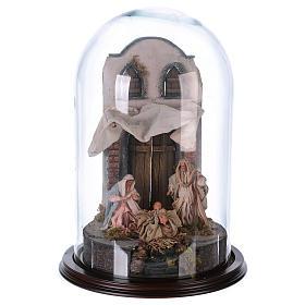 Sainte Famille terre cuite style arable 25x40cm cloche verre s1