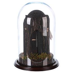 Sainte Famille terre cuite style arable 25x40cm cloche verre s4