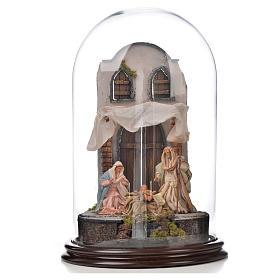 Natività Napoli terracotta stile arabo 25x40 cm campana di vetr s1