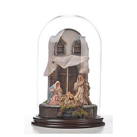 Natività Napoli terracotta stile arabo 25x40 cm campana di vetr s4