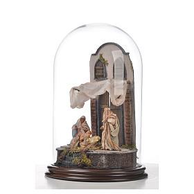 Natività Napoli terracotta stile arabo 25x40 cm campana di vetr s5