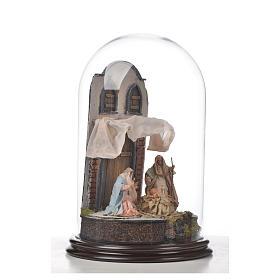 Natività Napoli terracotta stile arabo 25x40 cm campana di vetr s7