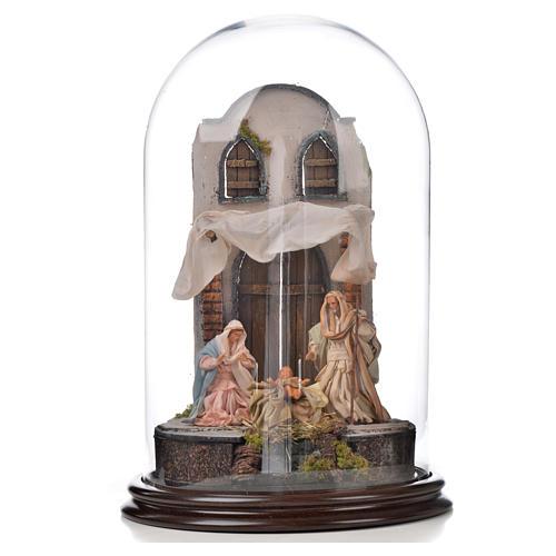 Natività Napoli terracotta stile arabo 25x40 cm campana di vetr 1