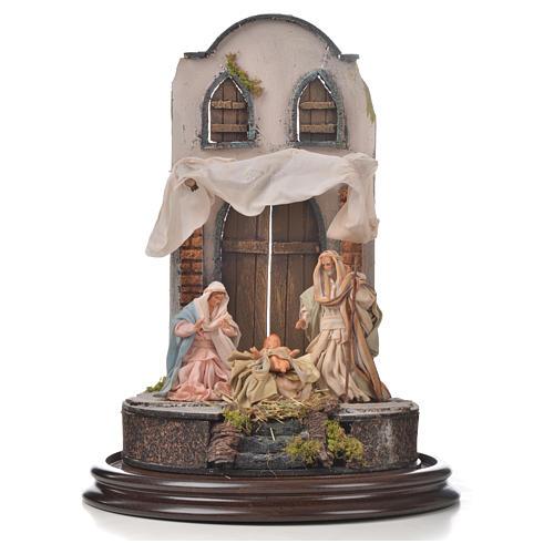 Natività Napoli terracotta stile arabo 25x40 cm campana di vetr 2