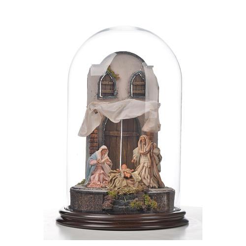 Natività Napoli terracotta stile arabo 25x40 cm campana di vetr 4