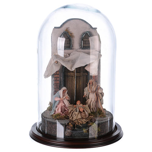 Neapolitan Nativity, Arabian style in glass dome 25x40cm 1