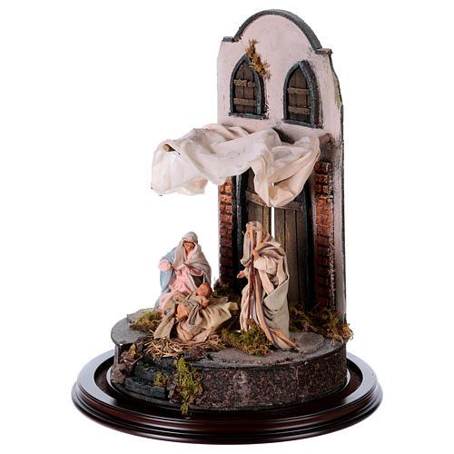 Neapolitan Nativity, Arabian style in glass dome 25x40cm 3