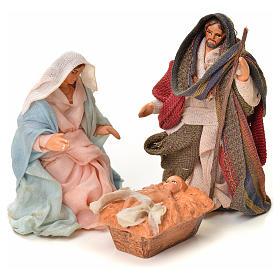 Neapolitan Nativity Scene: Neapolitan Nativity figurine, Joseph, Mary and baby Jesus, 6 cm