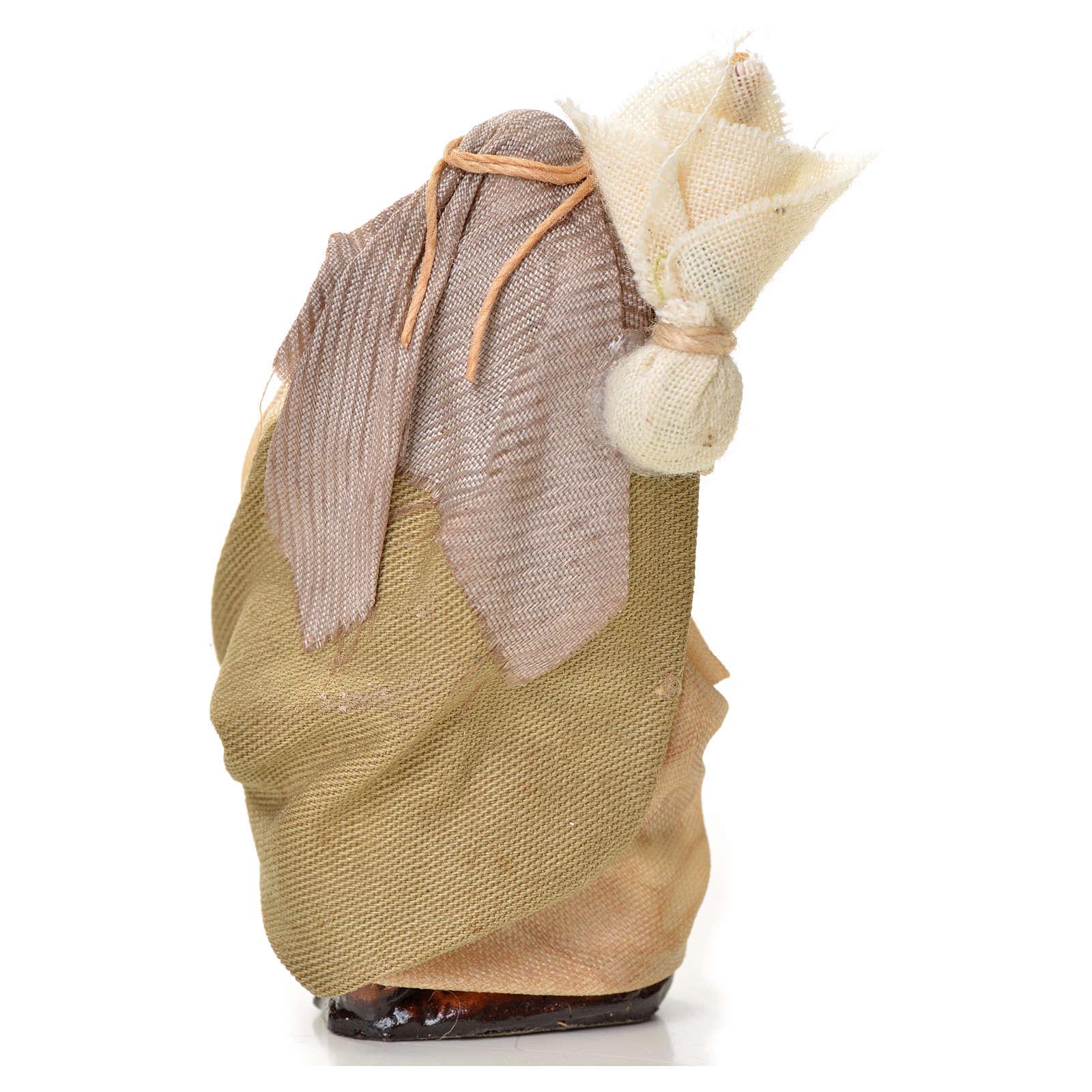 Uomo con sacco 6 cm presepe napoletano 4