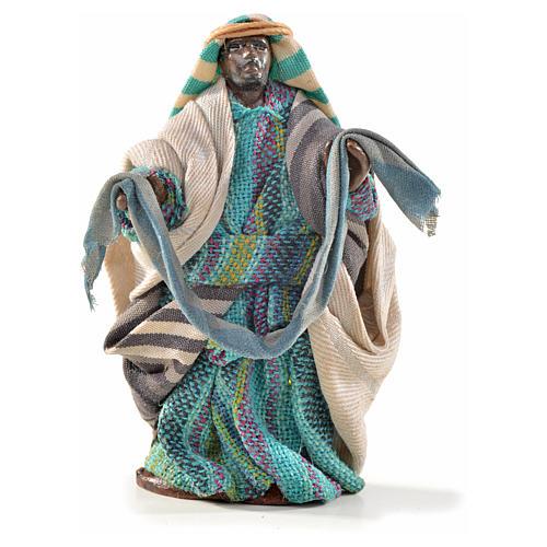Venditore con stoffe 6 cm presepe Napoli stile arabo 1