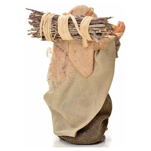 Neapolitan Nativity figurine, man with wood bundle, 6 cm 2