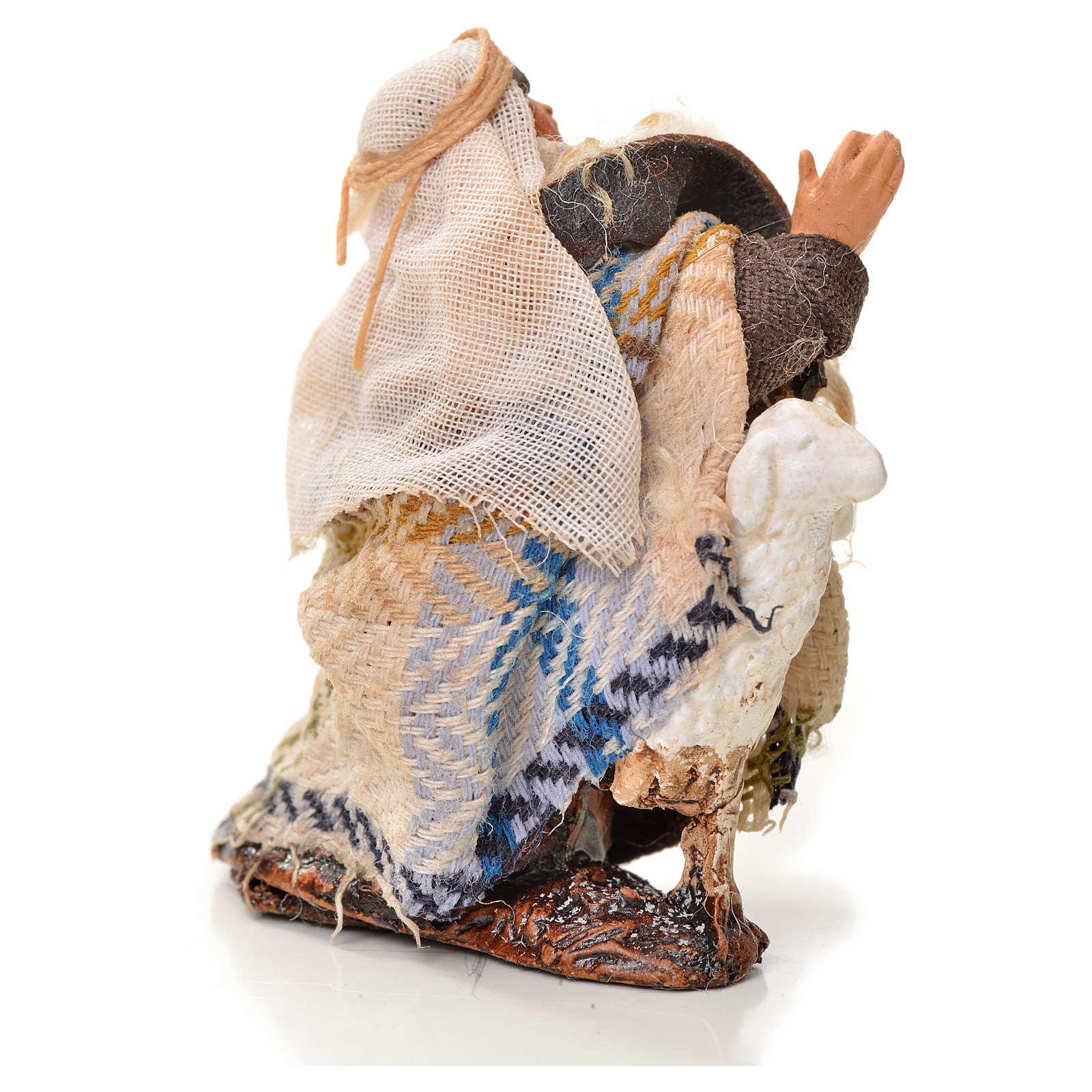Uomo in ginocchio con pecora 6 cm presepe napoletano 4