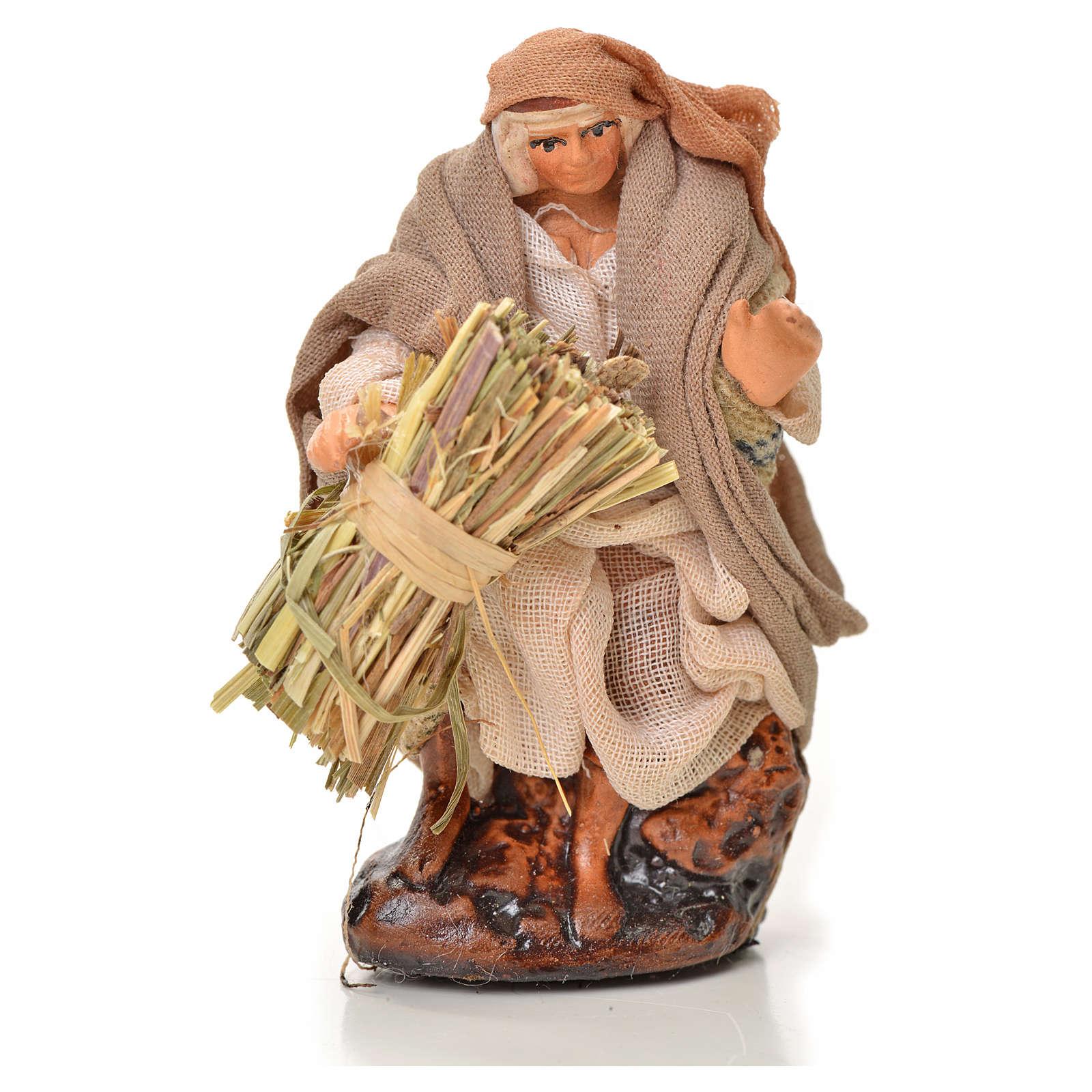 Neapolitan Nativity figurine, man with hay bundle, 6 cm 4