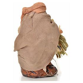 Neapolitan Nativity figurine, man with hay bundle, 6 cm s2