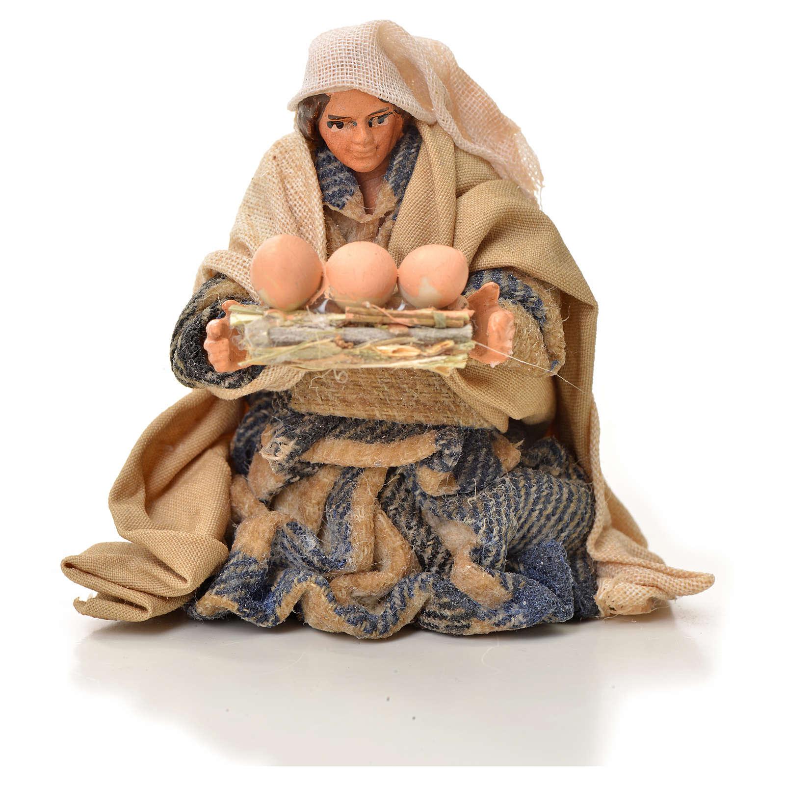 Uomo con uova 6 cm presepe napoletano 4