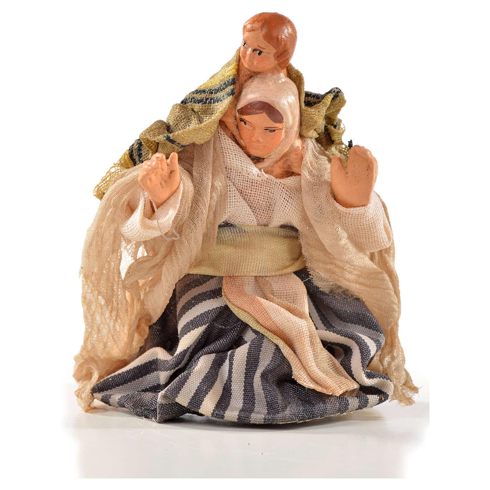 Femme arabe et enfant en bras crèche Napolitaine 6 cm 4