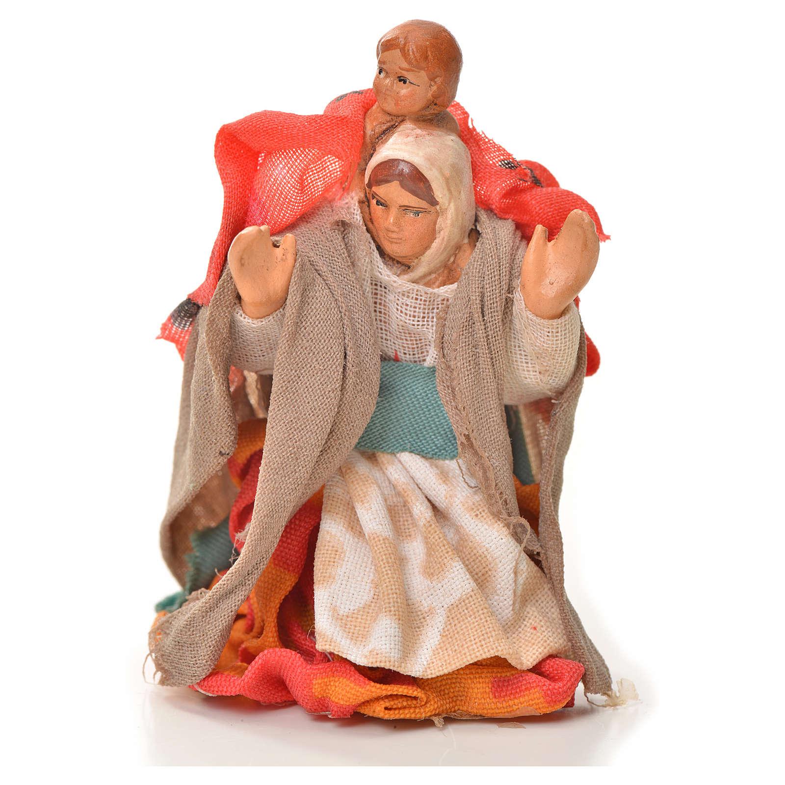 Mujer con niño en la espalda 6cm pesebre napolitano 4
