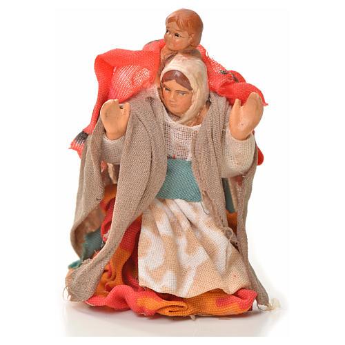 Mujer con niño en la espalda 6cm pesebre napolitano 1