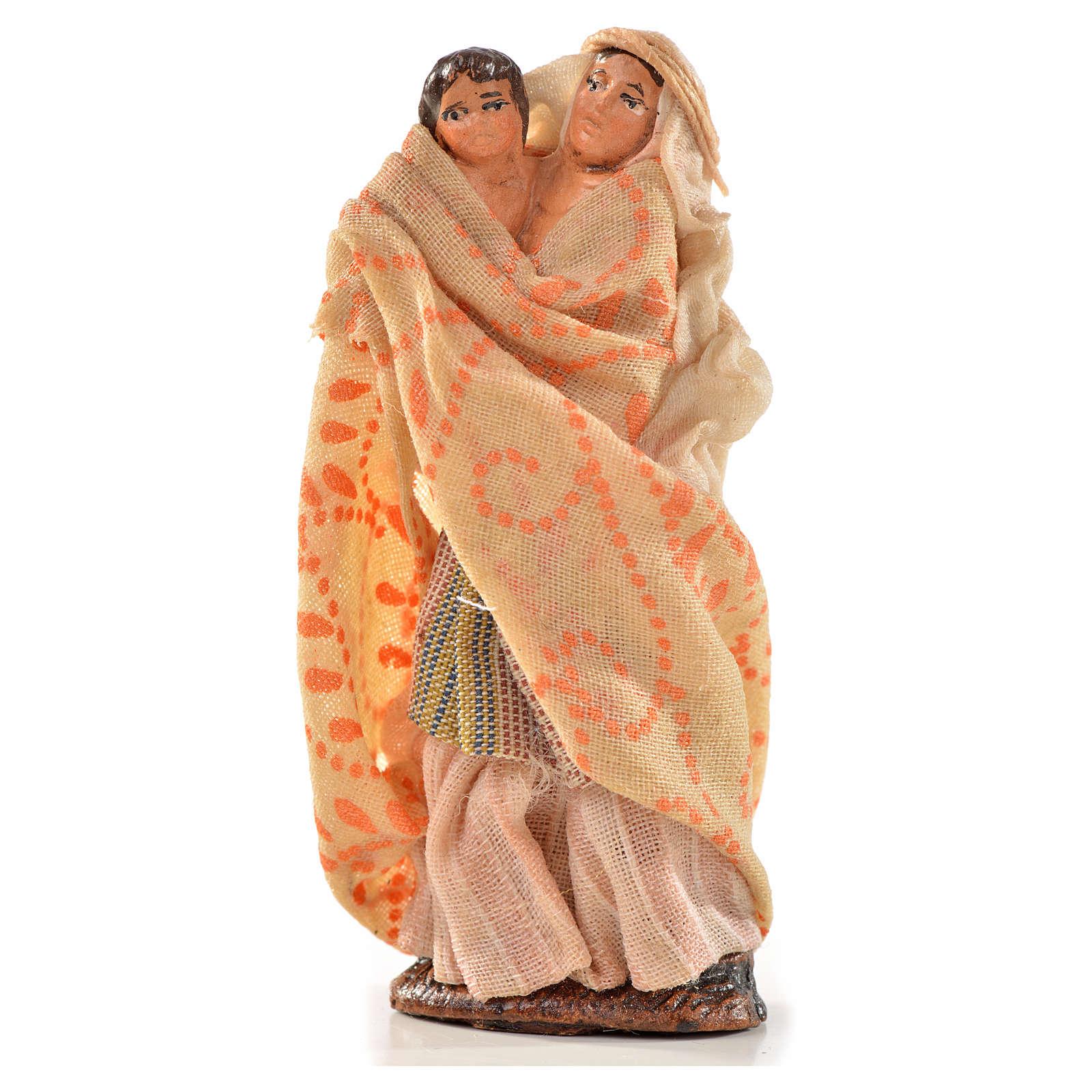 Femme arabe et son enfant crèche Napolitaine 6 cm 4