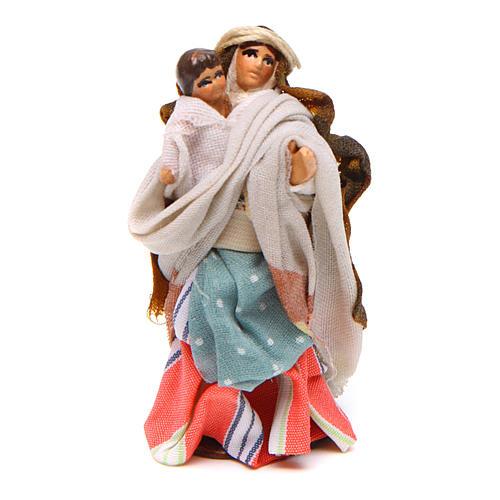 Donna bambino in braccio 6 cm presepe Napoli stile arabo 1
