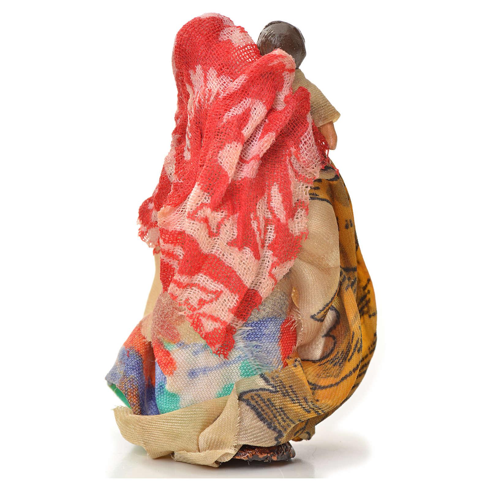 Donna bambino in braccio 6 cm presepe napoletano 4
