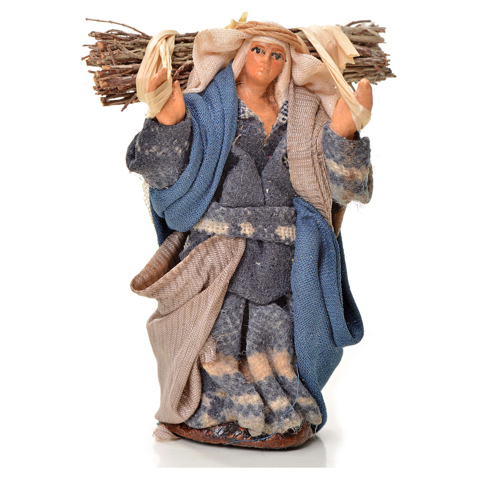 Neapolitan Nativity figurine, woman with bundle, 6 cm 4