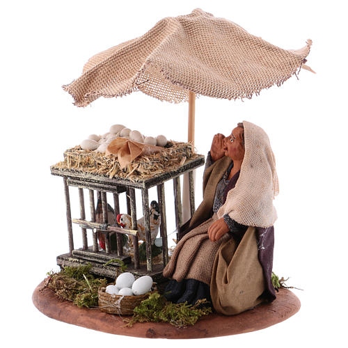 Woman with eggs sitting, Neapolitan Nativity 10cm 2