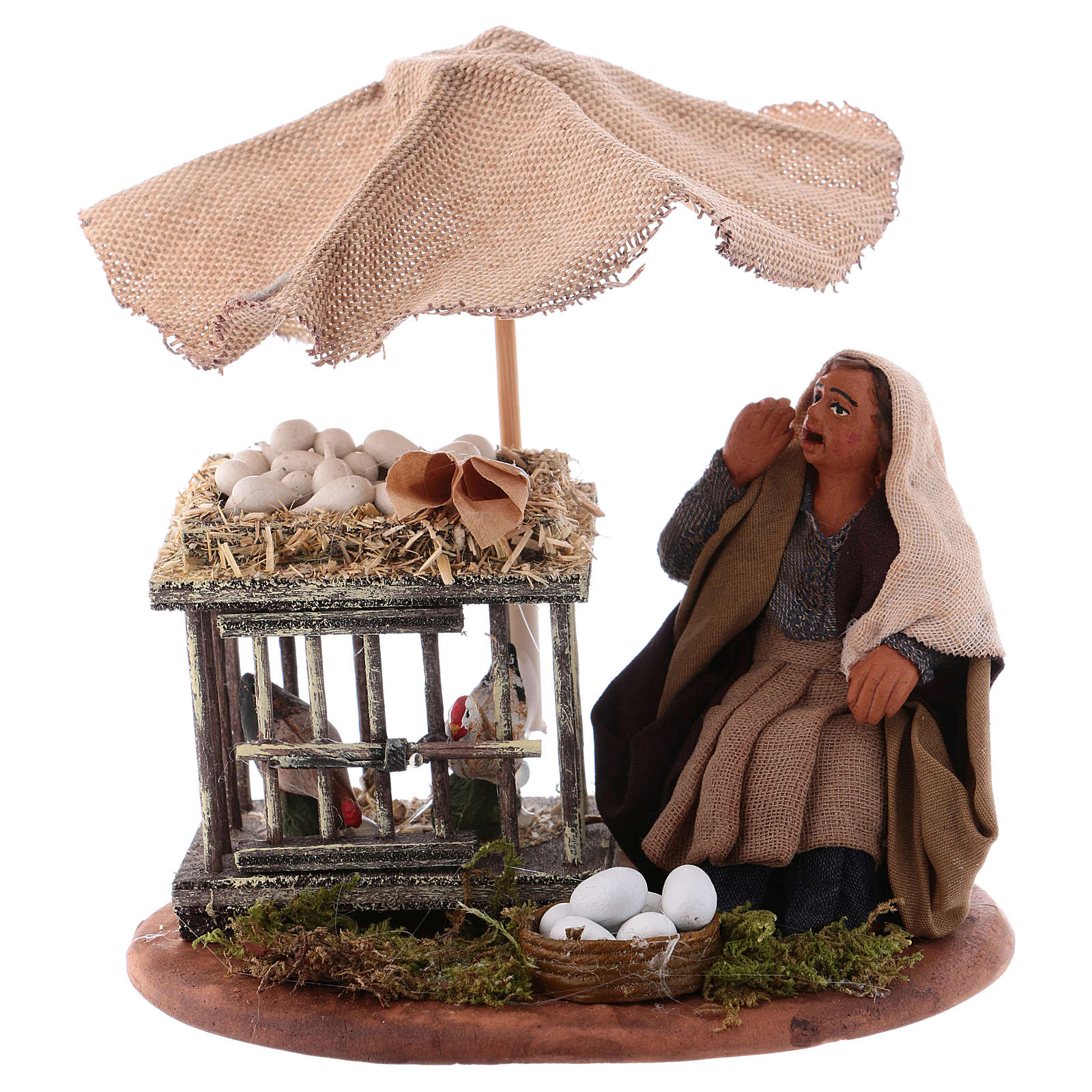 Mujer sentada con huevos 10 cm Belén Napolitano 4