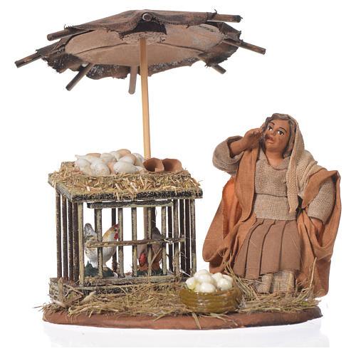 Femme assise avec oeufs 10 cm santon crèche napolitaine 1