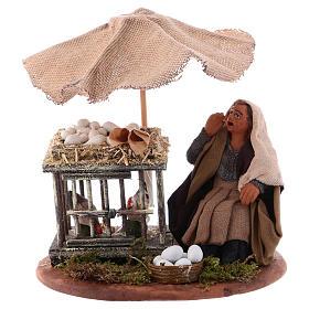 Woman with eggs sitting, Neapolitan Nativity 10cm s1