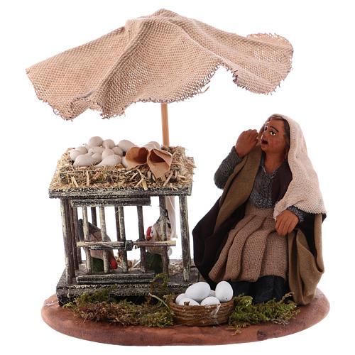 Woman with eggs sitting, Neapolitan Nativity 10cm 1
