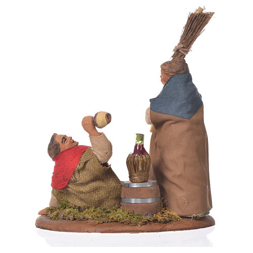 Drunkard and woman with broom, Neapolitan Nativity 10cm 2