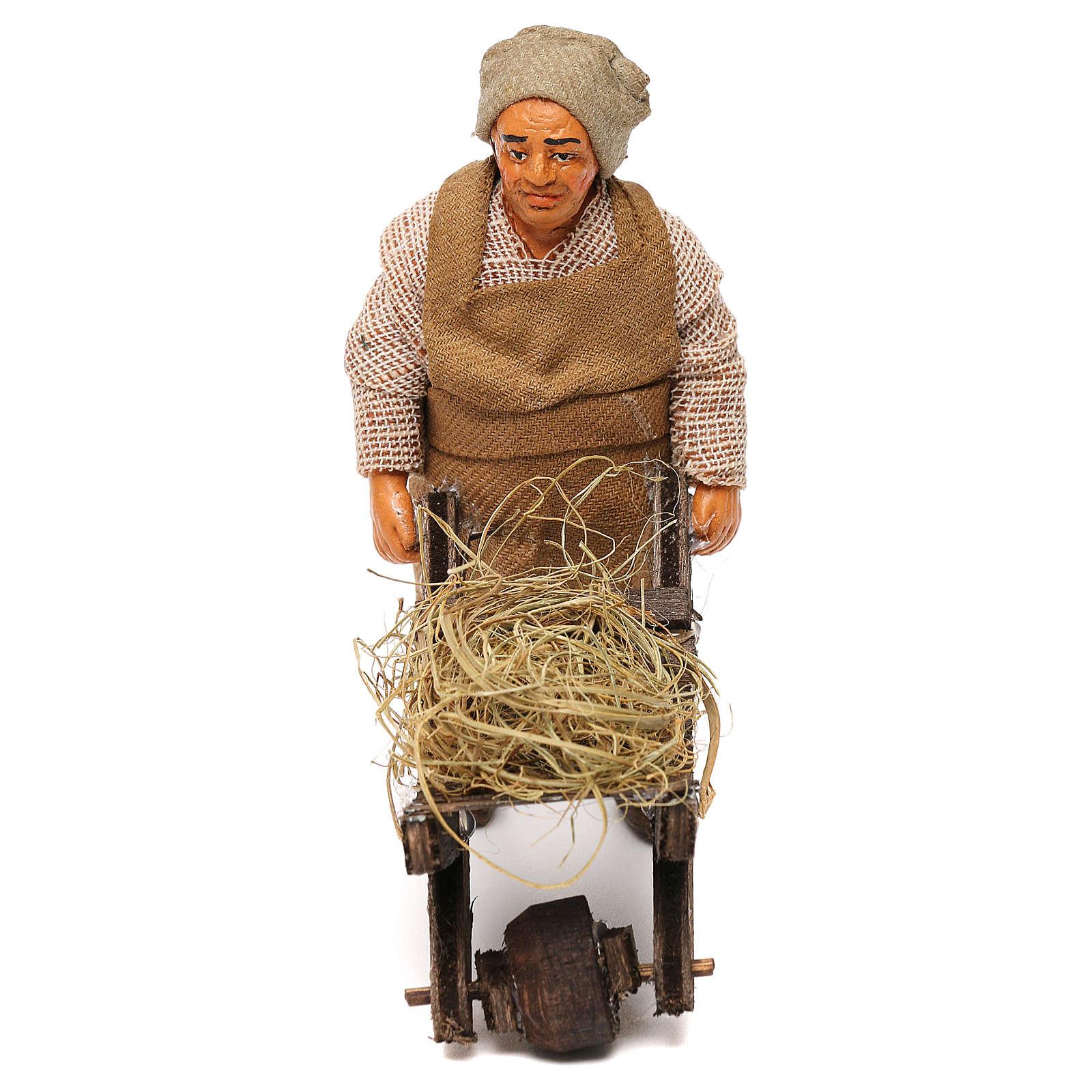 Uomo con carretto 10 cm presepe Napoli 4