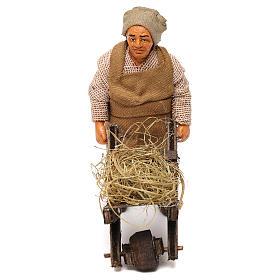 Uomo con carretto 10 cm presepe Napoli s1