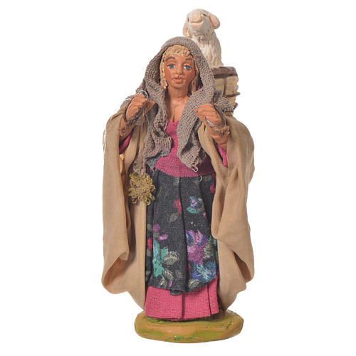Woman with basket and sheep, Neapolitan Nativity 10cm 1