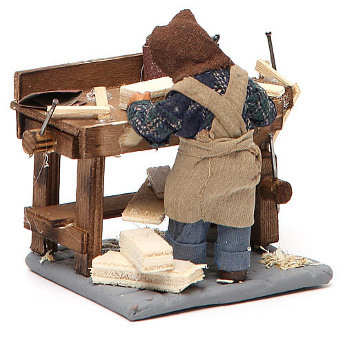 Carpenter with workbench, Neapolitan Nativity 10cm 10