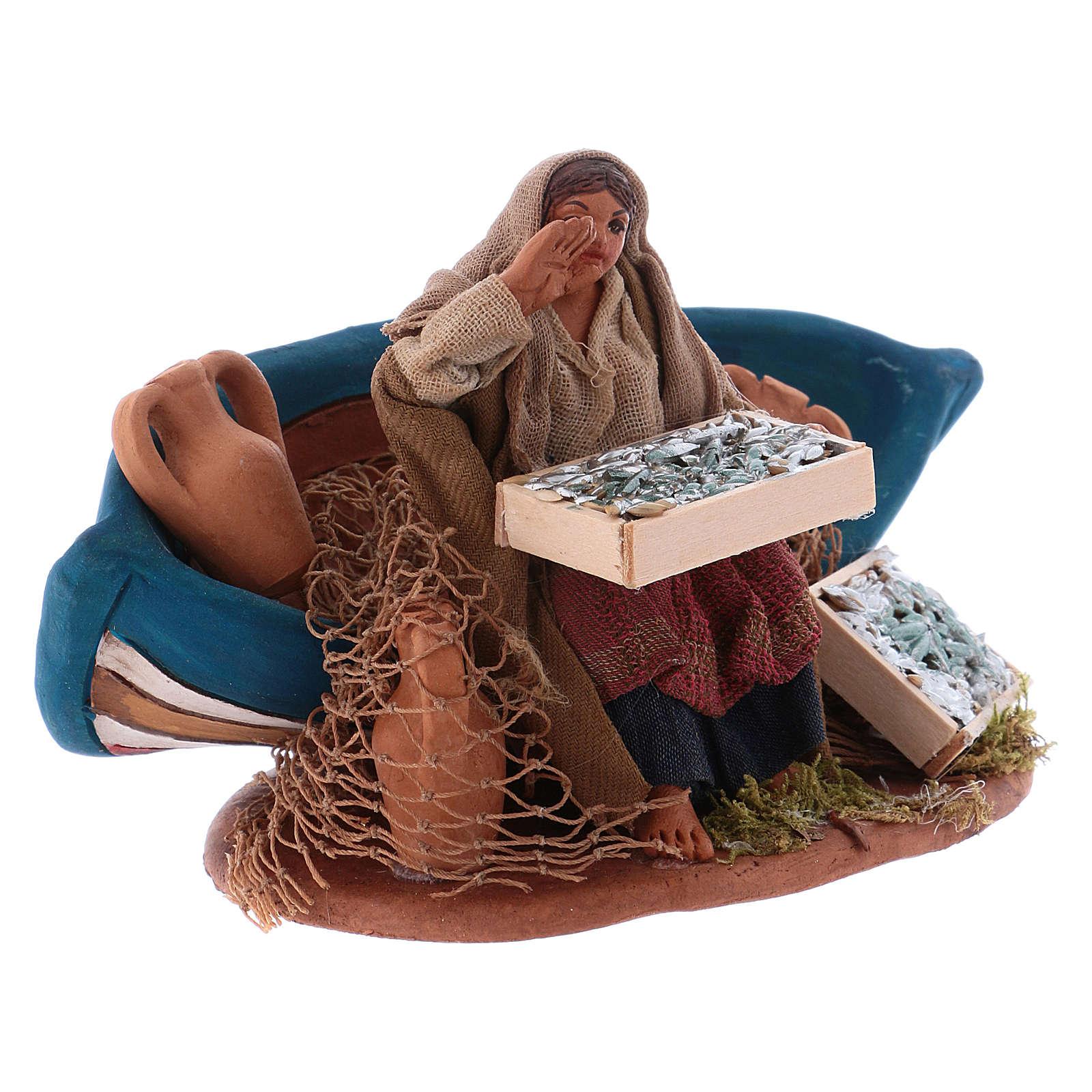 Fisherwoman with boat, Neapolitan Nativity 10cm 4