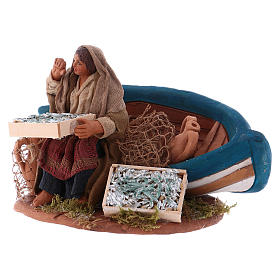 Fisherwoman with boat, Neapolitan Nativity 10cm s2