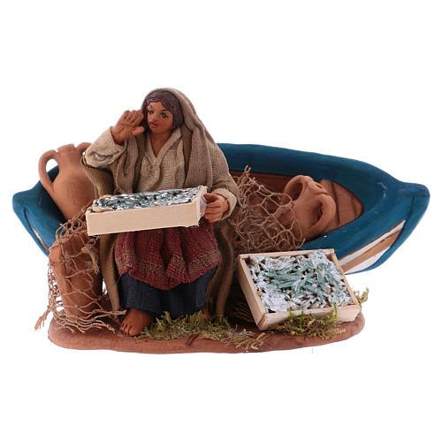 Fisherwoman with boat, Neapolitan Nativity 10cm 1