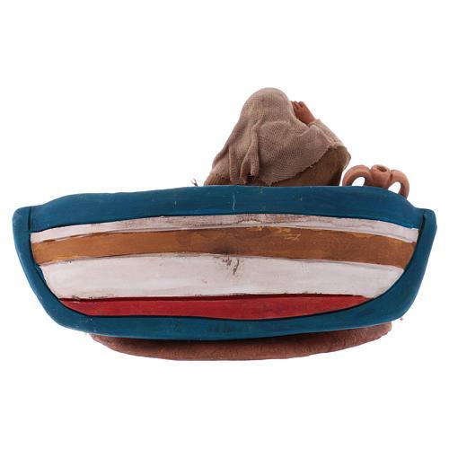 Pescatrice con barca 10 cm presepe napoletano 4